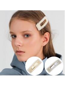 RAR1084W - Aksesoris Klip Rambut Mutiara Hair Clip Square Pearl Korea