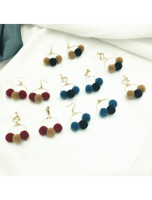 RAT1206W - Aksesoris Hijab Anting Jepit / Clip Round Velvet Earring