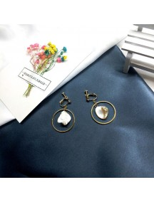 RAT1211 - Aksesoris Hijab Anting Jepit / Clip Shell Gems Earring