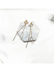 RAT1212 - Aksesoris Hijab Anting Jepit / Clip Long Tassel Earring
