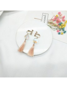 RAT1214 - Aksesoris Hijab Anting Jepit / Clip Glass Tassel Earring