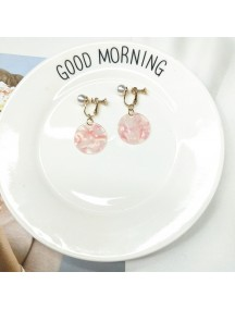 RAT1215 - Aksesoris Hijab Anting Jepit / Clip Pink Plate Glass Earring