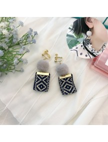 RAT1217 - Aksesoris Hijab Anting Jepit / Clip Tribe Ribbon Earring