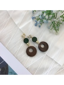 RAT1220 - Aksesoris Hijab Anting Jepit / Clip Geometric Wood Earring