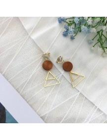RAT1223 - Aksesoris Hijab Anting Jepit / Clip Triangle Wood Earring