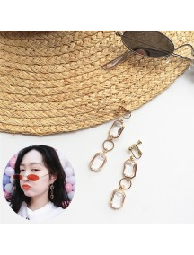 RAT1226 - Aksesoris Hijab Anting Jepit / Clip Long Crystal Earring