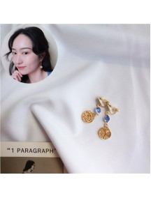 RAT1231 - Aksesoris Hijab Anting Jepit / Clip Blue Gold Earring