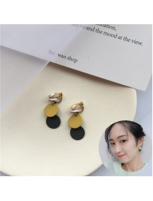RAT1233W - Aksesoris Hijab Anting Jepit / Clip Round Block Earring