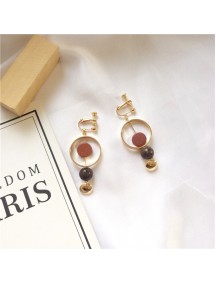RAT1235 - Aksesoris Hijab Anting Jepit / Clip Natural Stone Earring