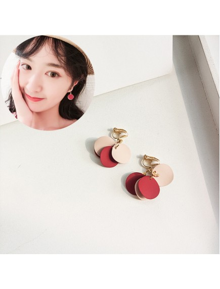RAT1236 - Aksesoris Hijab Anting Jepit / Clip Pink Disc Earring