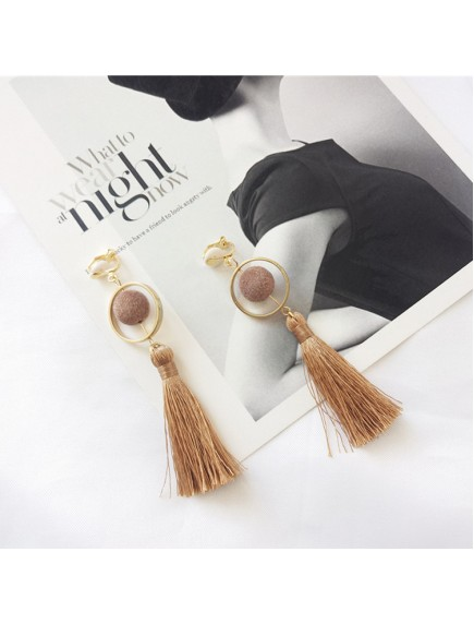RAT1238 - Aksesoris Hijab Anting Jepit / Clip Brown Tassel Earring