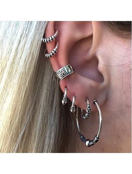 RAT1243 - Aksesoris Anting Silver Retro Set Earring 7pc