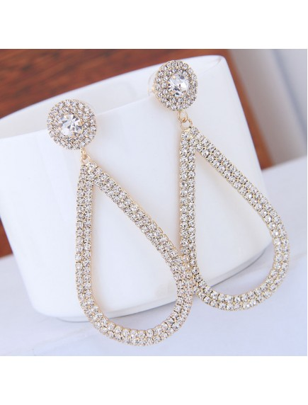 RAT1248 - Aksesoris Anting Gold Drop Oval Elegant