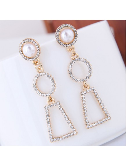 RAT1249 - Aksesoris Anting Gold Geometric Drop Elegant