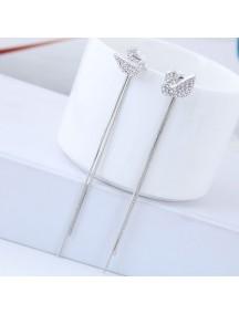 RAT1253 - Aksesoris Anting Silver Swan Fringe Elegant