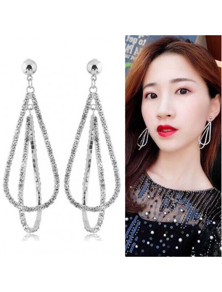 RAT1255 - Aksesoris Anting Rhinestone Double Drop Elegant