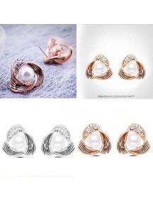 RAT1053W - Aksesoris Anting Twist Diamond Pearl
