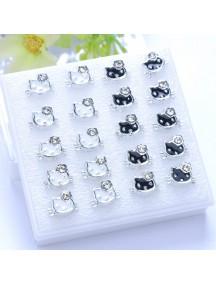 RAT1106 - Aksesoris Anting Hello Kitty Black White Earring Box
