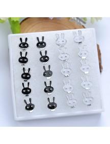 RAT1107 - Aksesoris Anting Rabbit Black White Earring Box