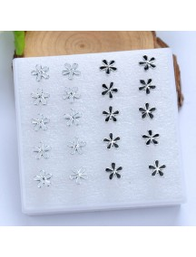 RAT1115 - Aksesoris Anting Black White Flower Earring Box