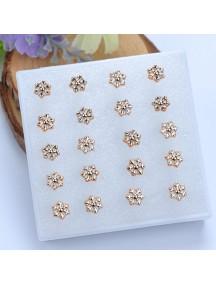 RAT1121 - Aksesoris Anting Gold Snowflake Pearl Earring Box