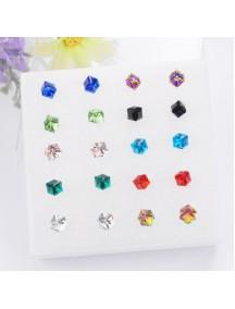 RAT1123W - Aksesoris Anting Medium Crystal Color Earring Box
