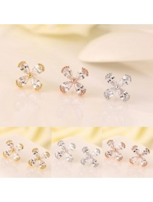RAT1133W - Aksesoris Anting Zircon Four Leaf