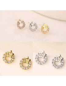 RAT1153W - Aksesoris Anting Zircon Circle Star
