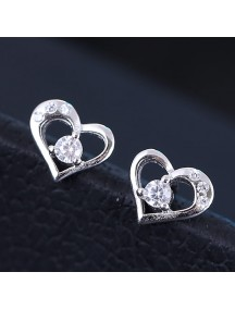 RAT1154 - Aksesoris Anting Silver Heart Crystal