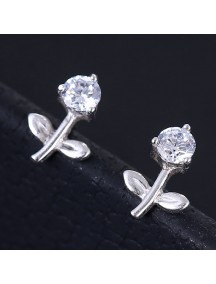 RAT1157 - Aksesoris Anting Silver Rose Crystal
