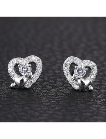 RAT1158 - Aksesoris Anting Silver Love Crystal
