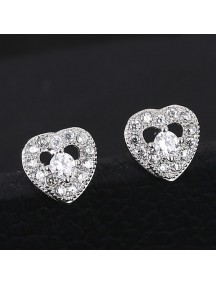 RAT1159 - Aksesoris Anting Silver Heart Crystal