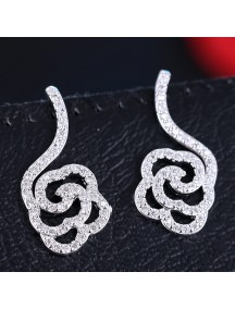 RAT1164 - Aksesoris Anting Silver Elegant Rose