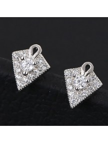 RAT1168 - Aksesoris Anting Silver Diamond Arrow