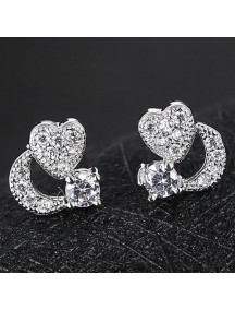 RAT1176 - Aksesoris Anting Silver Heart Porcelain