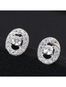 RAT1177 - Aksesoris Anting Silver Oval Diamond