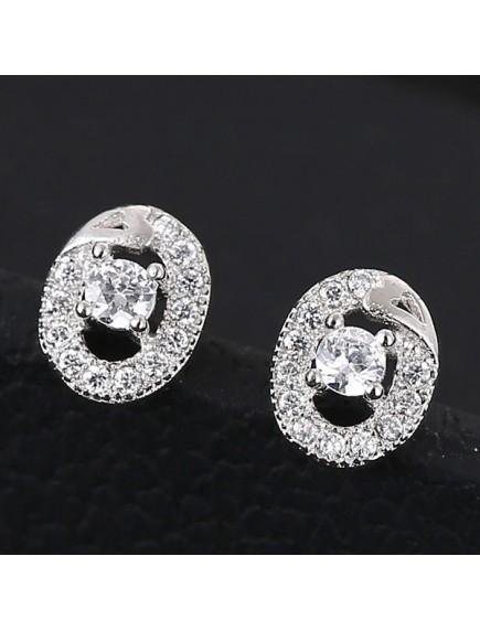 RAT1177 - Aksesoris Anting Silver Oval Diamond