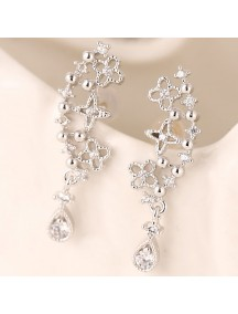 RAT1182 - Aksesoris Anting Silver Flower Droplet
