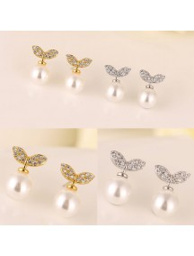 RAT1184W - Aksesoris Anting Double Leaf Pearl