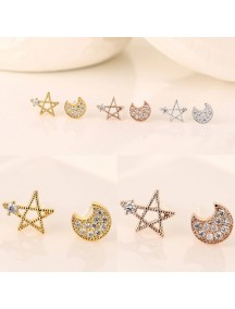 RAT1187W - Aksesoris Anting Zircon Star Moon