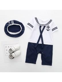 KA0083W - Short Sleeve Sailor Set Romper Pesta Balita (White)