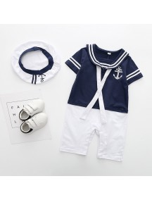 KA0084W - Short Sleeve Sailor Set Romper Pesta Balita (Biru)