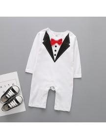 KA0085W - Long Sleeve Tux Suit Set Romper Pesta Balita (Putih)