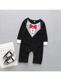 KA0086W - Long Sleeve Tux Suit Set Romper Pesta Balita (Black)
