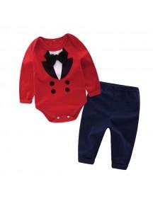 KA0090W - Baju Bayi Gentleman Red Suit Romper Balita Set