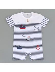 KA0098W - Baju Bayi Sailor Stripe Blue Romper Balita