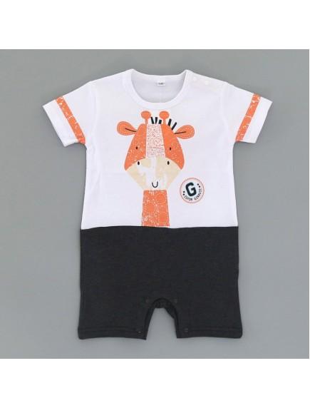 KA0099W - Baju Bayi Orange Giraffe Romper Balita