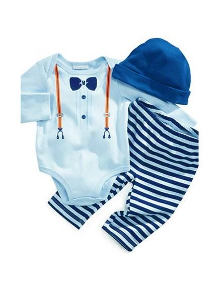 KA0103W - Baju Bayi Gentleman Straps Baby Romper Balita Set + Topi (Biru)