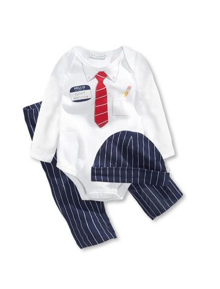KA0104W - Baju Bayi Gentleman Tie Baby Romper Balita Set + Topi (Putih)
