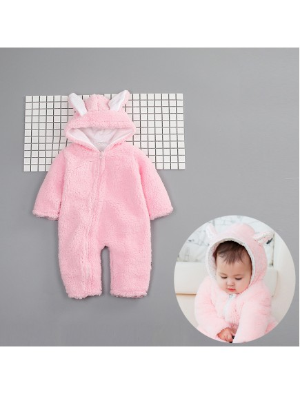 KA0106W - Winter Jacket Bayi Bunny Pink Fleece Romper